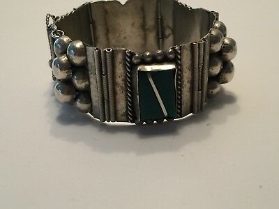 Vintage Mexican Alpaca Silver Panel Bracelet With Green Stones