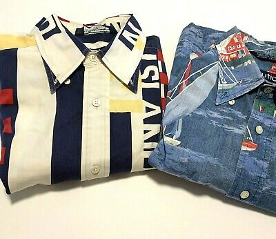 Nautica Mens M Lot Of Two Sailing Nautical LS/SS Vintage 100pc Cotton Shirts