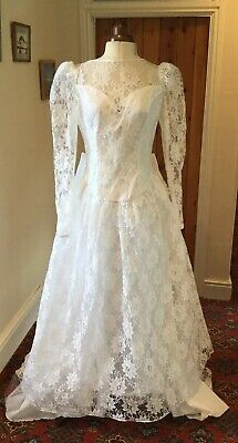 Vintage 1980'S Victorian Style White Lace Wedding Dress With Train