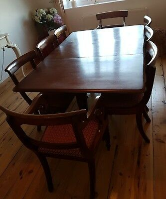 William IV dining table & chairs antique