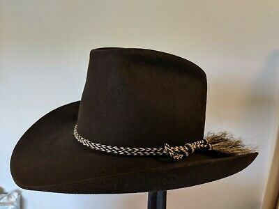 f5d67edcaa3f4 VTG STETSON USA Cowboy Hat Horsehair Band 3X Chocolate VAIL Hat CO BEAUTY 7  1