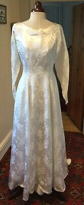 VINTAGE 1940's ? IVORY DAMASK WEDDING DRESS