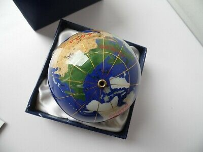 Modern Inlaid Semi-Precious Stones World Atlas Globe Paperweight In Box