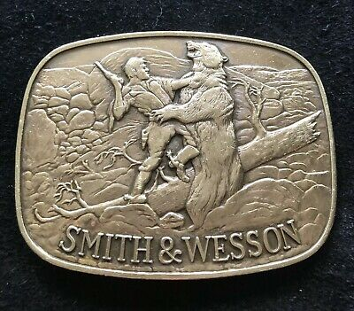 """Smith & Wesson Brass Belt Buckle """"The Last Cartridge 1978"""" NO RESERVE"""