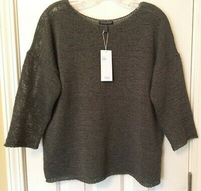 b6e165ad1e3 EILEEN FISHER Oregano Bateau Neck Organic Cotton Tape Knit Sweater sz PL NWT