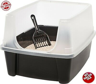 Open Top Cat Litter Box Clean Pet Cat Kitty with Shield and Scoop Black EASY CLN