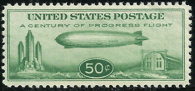 Scott C18, the 50 Cent Century of Progress Zeppelin Stamp from 1933 - Hinged