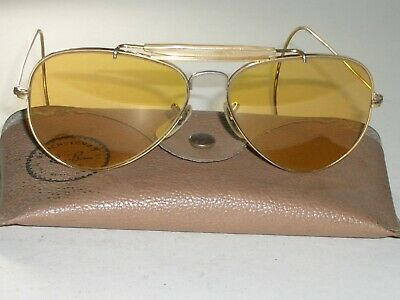 568255a250ec5 1960 s 58  14 VINTAGE B L RAY-BAN CABLE-WRAPS AMBERMATIC OUTDOORSMAN  SUNGLASSES