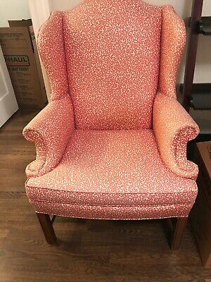 Antique Wingback chairs - Set of 2 Red/white Pattern