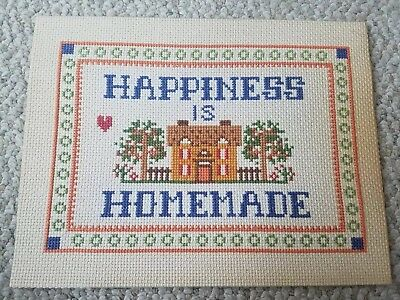 Completed Counted Cross Stitch Happines Is Homemade  11 X 8.5 In