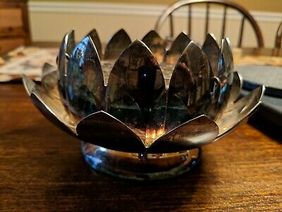 Vintage Reed and Barton Flower Frog Silver Plate 3 Piece Lotus Vase Centerpiece