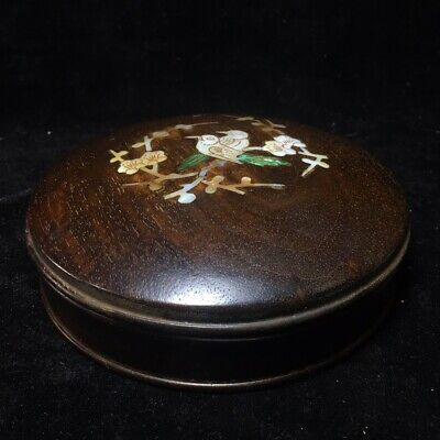 "6"" China antique huanghuali wood Mosaic shells Plum blossom and birds Box"