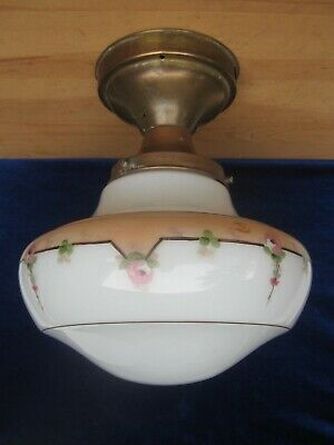 "Antique 20's Deco handpainted ceiling light-fixture globe w/brass mount 4""fitter"