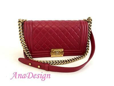 64736cc9734e9e Chanel Le Boy Red Lambskin Medium Crossbody Bag GHW w/Authenticity Cert