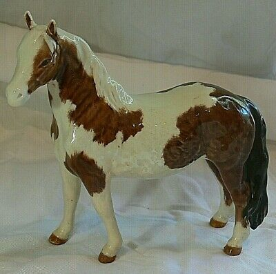 Beswick Horse Skewbald Pinto Indian Pony Figurine Made In England Oval Mark