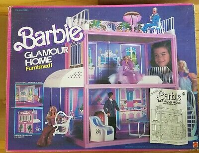 Vintage Barbie Glamour Home Mattel 1984 Furnished Bbq Bed Chair Dream House 80s