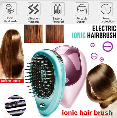 Portable Electric Ionic Hairbrush Mini Ion Hair Brush Massage Comb Straight mN