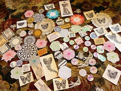 95 stamped images and words cutouts  for collage altered art journals scrapbooks