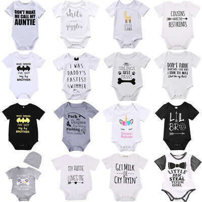 Lots Newborn Baby Boy Girl Letter Print Romper Bodysuit Jumpsuit Clothes Outfits