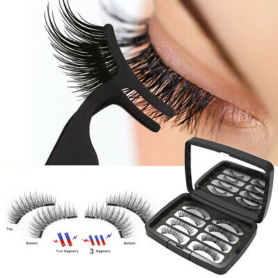 8Pcs 3D Magnetic Natural Thick Faux Grafting Eyelashes With Tweezers Alluring