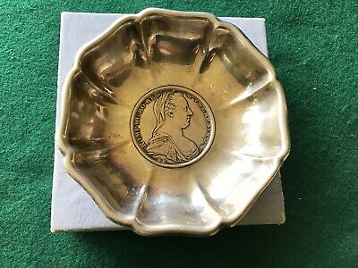 Antique Silver Ashtray Made With Maria Theresa 1780 Coin