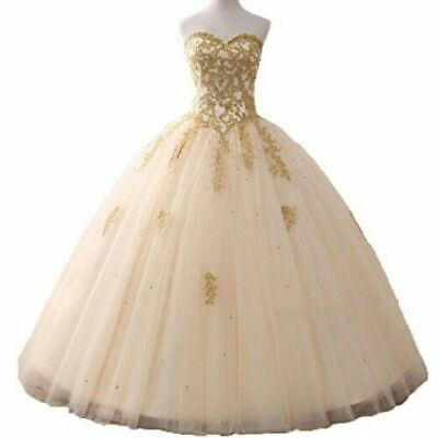 9977c37900dd Champagne Prom Party Bridesmaid Dresses Ball Gown Quinceanera Dress Stock 6- 16