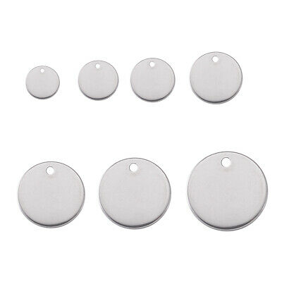 100x 304 Stainless Steel Tag Pendants Round Stamping Blank Dangle Charms 11 Size