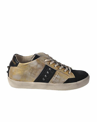 9298 CALZATURA DONNA SNEAKERS LEATHER CROWN ALTA PELLE ORO