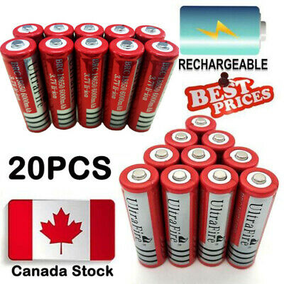 20pcs 18650 3.7V 6000mAh Ultrafire Battery Li-ion Lithium Rechargeable Batteries