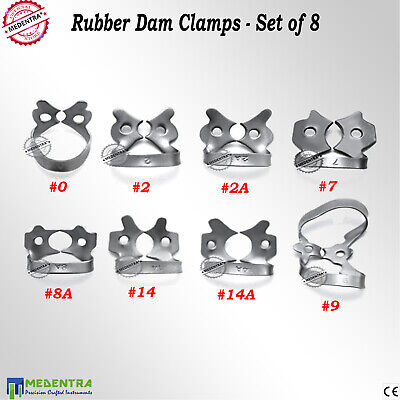 Dentist Rubber Dam Clamps Ivory Universal Clamp 0, 2, 2A, 7, 8A, 9, 14, 14A Set