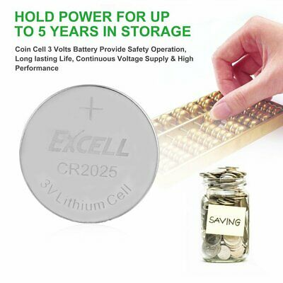 EXCELL 5x 3V CR2025 Lithium Coin Cell Button Battery for Toys Remote Battery JQ