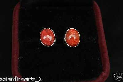 Lovely Vintage Jewelry Bronze Antique Earrings w/ Beautiful Red Stone Accessory