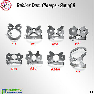 Set of 8 Rubber Dam Clamps 0, 2, 2A, 7, 8A, 9, 14, 14A Lower Upper Molars Clamp