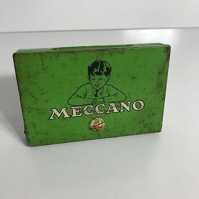 VINTAGE 1960s MECCANO GREEN TIN - Parts Case - Genuine - Made in England
