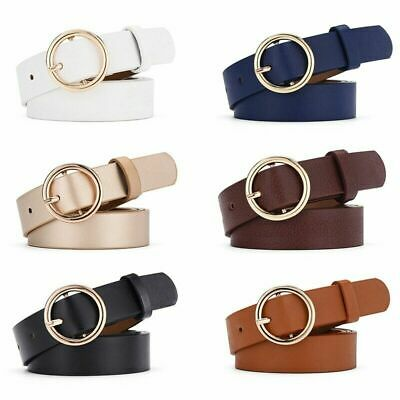 Ladies Women Round Buckle Belt Dress Jeans Faux Leather Waistband Simple Gift