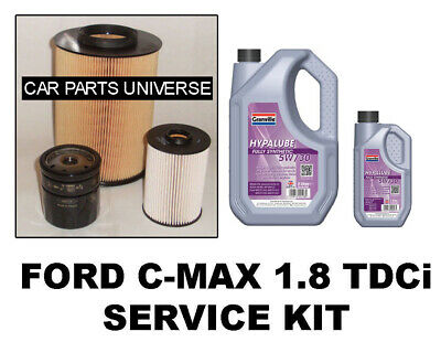 1.8 TDCi FORD C-MAX (Oil Air Fuel Filter 5w30 fully x 6 litre) Service Kit 07-11