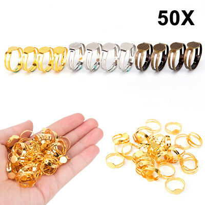 50pcs 8mm Flat Pad Ring Bases DIY Blank Findings For Jewelry Making Adjustable ;