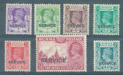 Burma 1939 Service 7 values to 4As sg.015 etc all MNH
