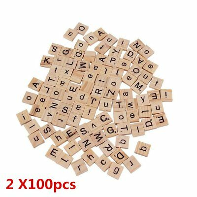 100-500Pcs Wooden Alphabet Scrabble Tiles Letters Numbers For Crafts Wood ep