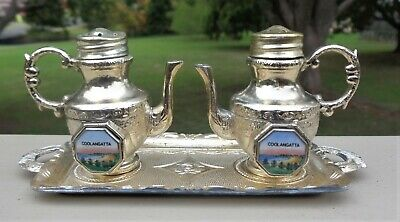 Vintage Souvenir Teapot Salt & Pepper Shakers & Tray *Coolangatta Qld *Japan