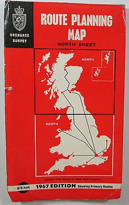 old vintage 1967 OS Ordnance Survey Route Planning Map North Sheet 10 m = 1 in