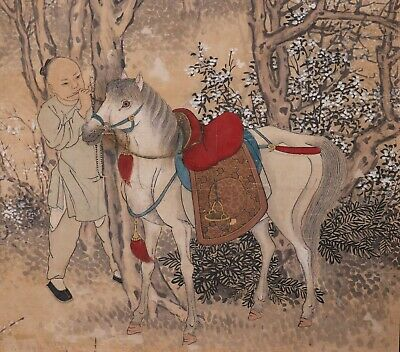 Antique 19th Century Chinese Framed Painting on Paper of Man and Horse