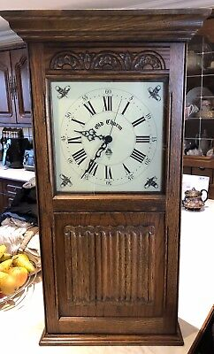 Large Old Charm Westminster Chiming Wall Clock Key box Solid Carved Oak Case