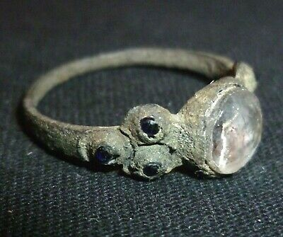 VIKING Bronze RING with Clear and Blue Gem - Circa 7th - 9th Century AD    /1038
