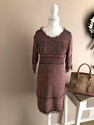11147803cc5565 ISABEL MARANT Strickkleid Mini Kleid Dress Fransen mauve gold bunt 36 S