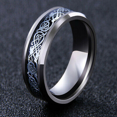 Men's Silver Celtic Dragon Wedding Titanium Stainless Steel Band Rings Cool