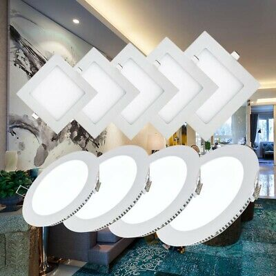 3W-18W LED Round & Square Recessed Ceiling Flat Panel Downlights Ultrathin Lamps