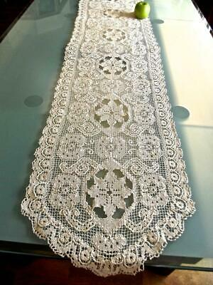 """Antique Italian Bosa Hand Knotted Darned Filet Lace 15x68"""" Runner Dresser Scarf"""