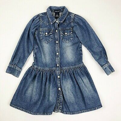 Ralph Lauren Girls Size 5 Long Sleeve Blue Denim Jean Dress Snap Front