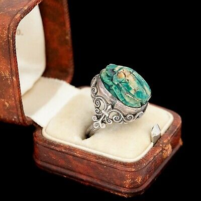 Antique Vintage Art Deco Sterling Silver Egyptian Faience Scarab Bead Ring S 5.5